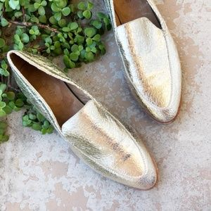 Madewell Frances Gold Leather Metallic Loafers